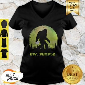 Official Bigfoot Hold Toilet Paper Ew People V-Neck