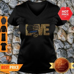 Official Love Leopard Thin Blue Line Lips V-Neck