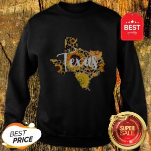 Official Texas Sunflower Wildflower State Map Sweatshirt