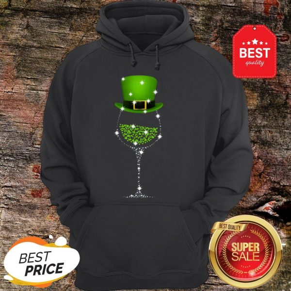 Official St Patrick's Day Shamrock Wine Glass Hoodie