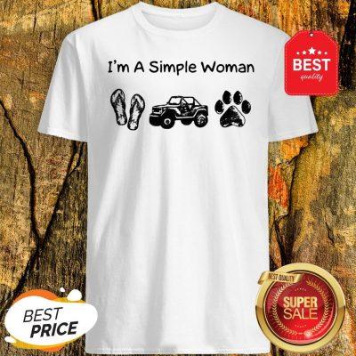 I'm A Simple Woman I Like Flip Flop Jeep And Dog Paw Shirt