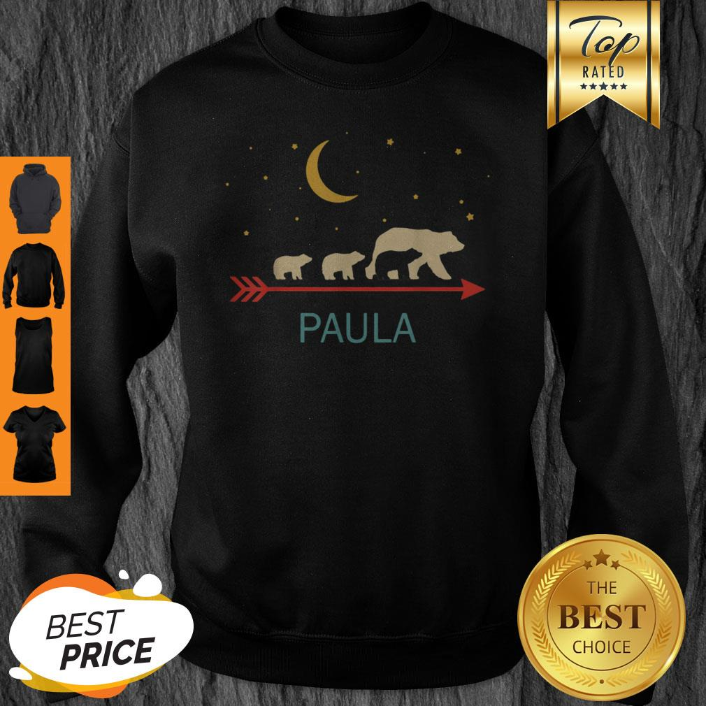Top Paula Name Gift Personalized Mama Bear With 3 Cubs Sweatshirt