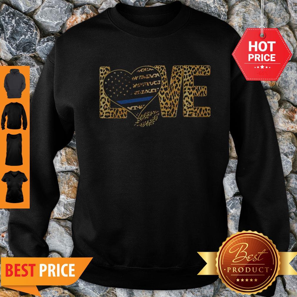 Official Love Leopard Thin Blue Line Lips Sweatshirt