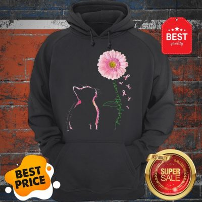 Paws For The Cure Cat Sunflowers Breast Cancer Awareness Hoodie