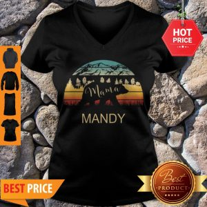 Official Mandy Name Gift Retro Sun Personalized Mama Bear V-neck