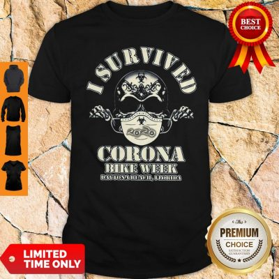Skull I Survived Corona Bike Week Daytona Beach Florida Shirt