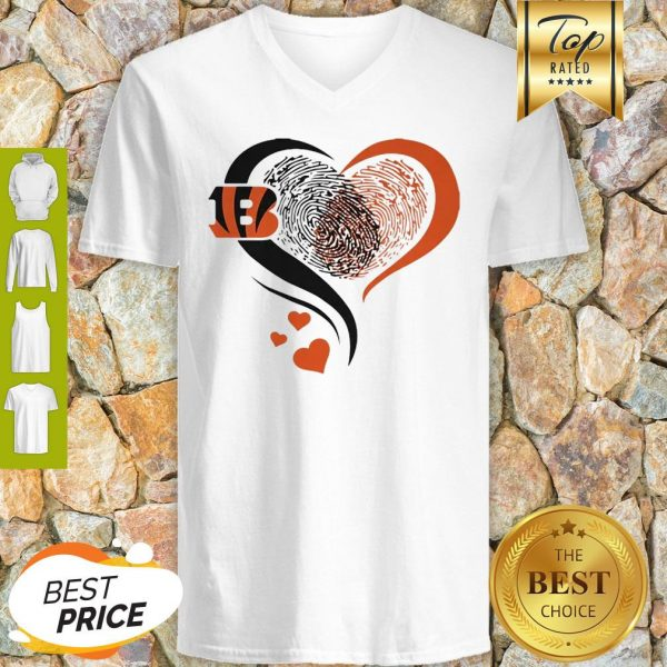 Cincinnati Bengals Rugby Heart Fingerprint V-Neck
