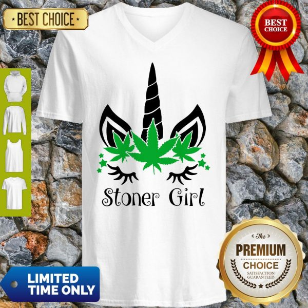 Unicorn Cannabis Marijuana Stoner Girl V-Neck