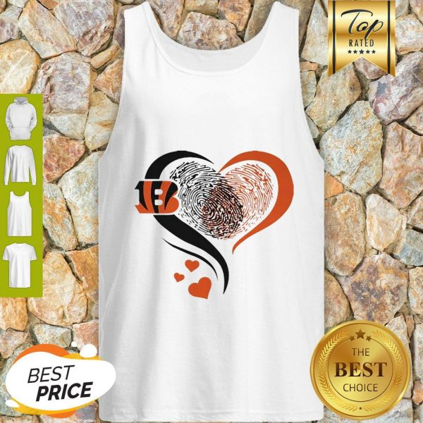 Cincinnati Bengals Rugby Heart Fingerprint Tank Top