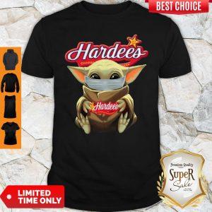 Pretty Baby Yoda Face Mask Hug Hardee's Shirt