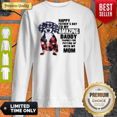 Dachshunds Dog America Flag Happy Fathers Day To My Amazing Daddy Sweatshirt