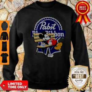 Top Mickey Mouse Drink Pabst Blue Ribbon Sweatshirt