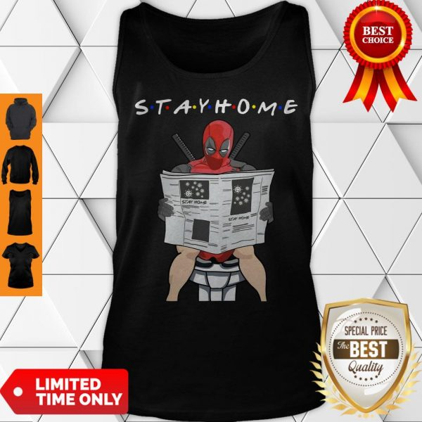 Premium Deadpool On Toilet Stay Home Tank Top
