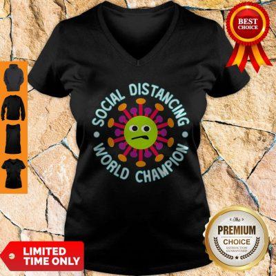 Official Social Distancing World Champion Introvert Coronavirus V-Neck