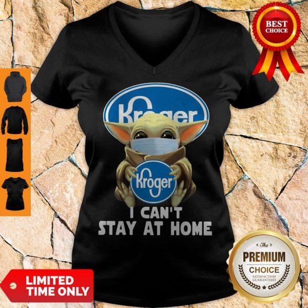 Baby Yoda Mask Hug Kroger I Can't Stay At Home V-neck