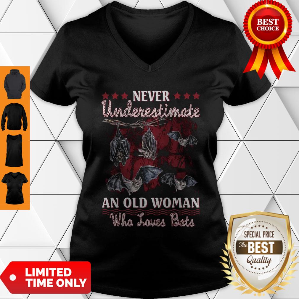 Never Underestimate An Old Woman Who Loves Bats V-Neck