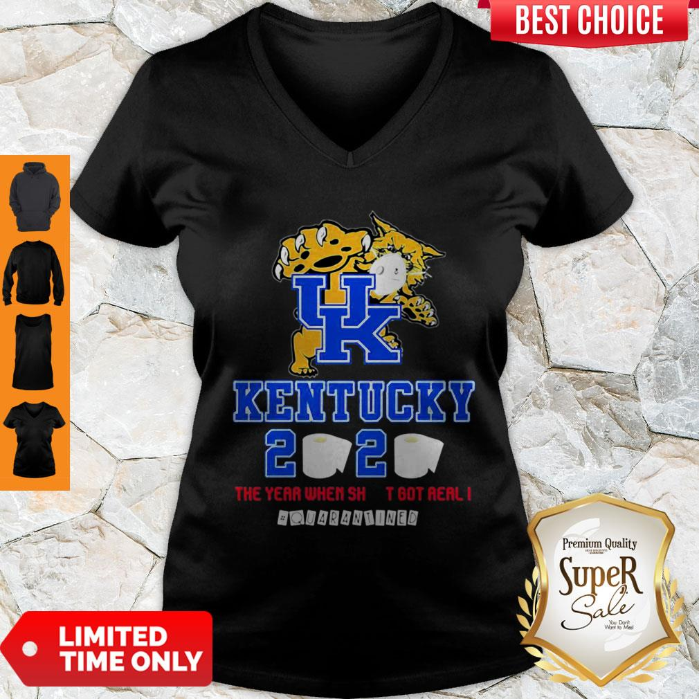Kentucky Wildcats 2020 The Year When Shit Got Real #Quarantined V-Neck
