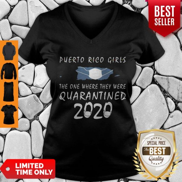Awesome Puerto Rico Girls Face Mask Quarantined 2020 V-neck