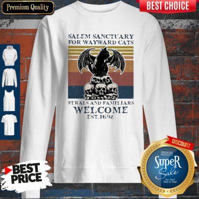 Bat Skull Salem Sanctuary For Wayward Cats Ferals And Familiars Welcome Est 1692 Vintage Sweatshirt