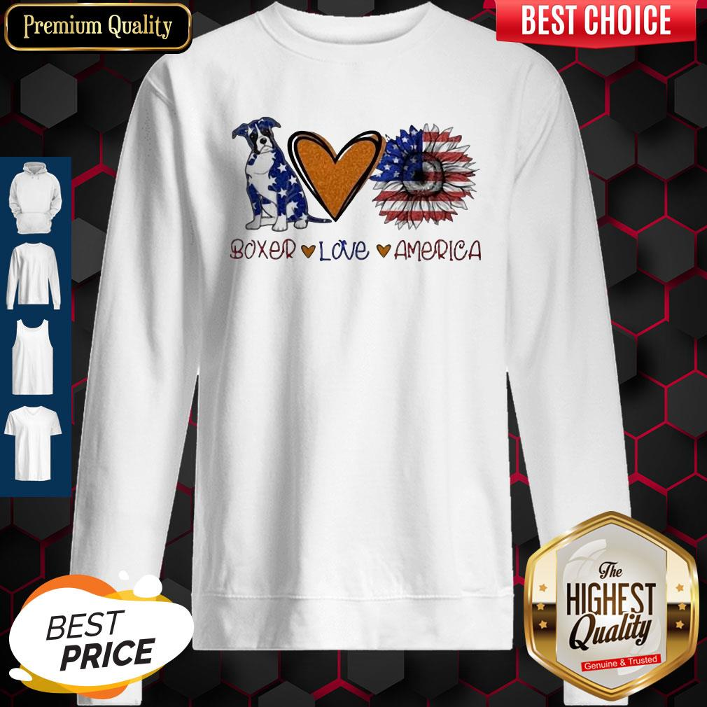 Boxer Love Heart Sunflower American Flag Veteran Independence Day Sweatshirt