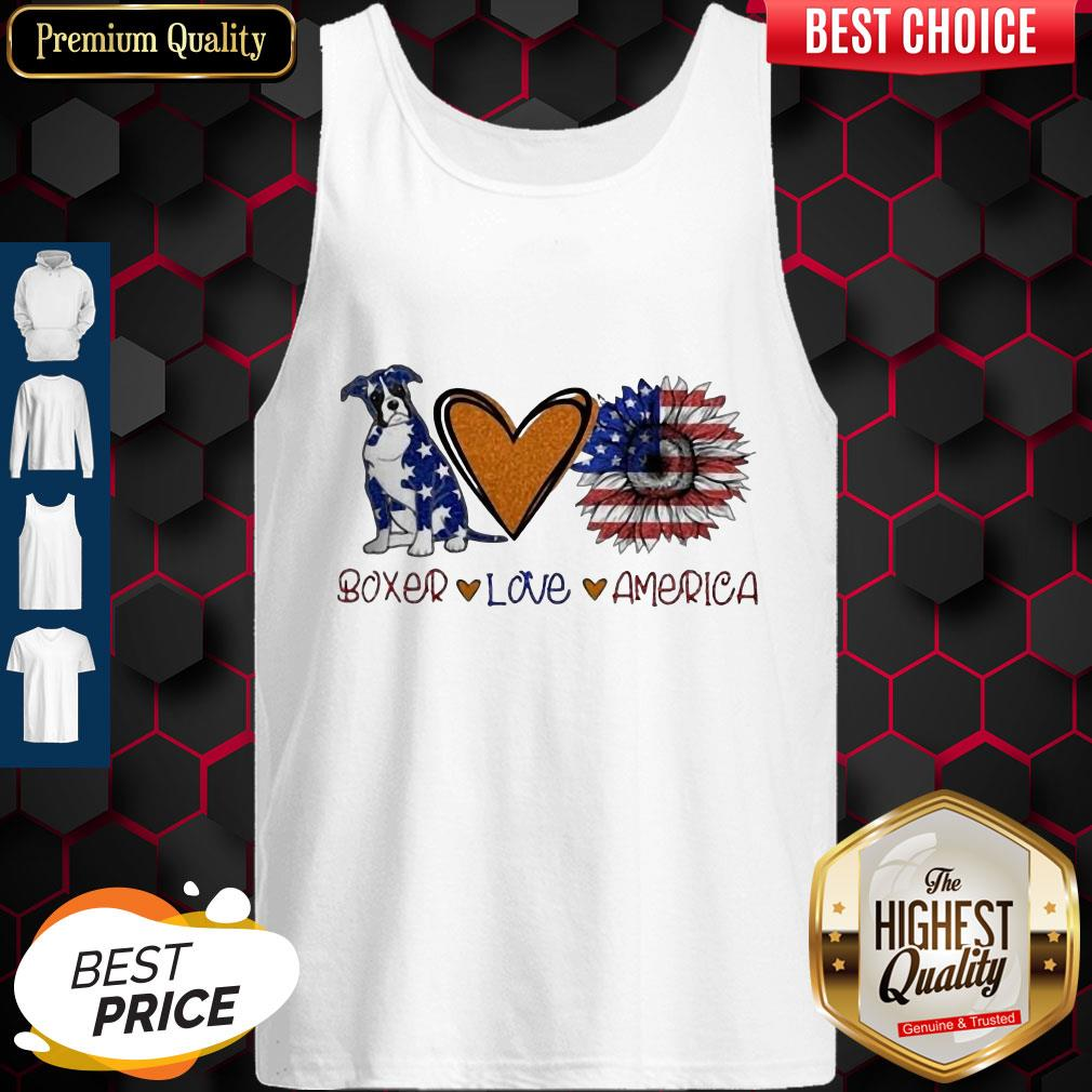 Boxer Love Heart Sunflower American Flag Veteran Independence Day Tank Top
