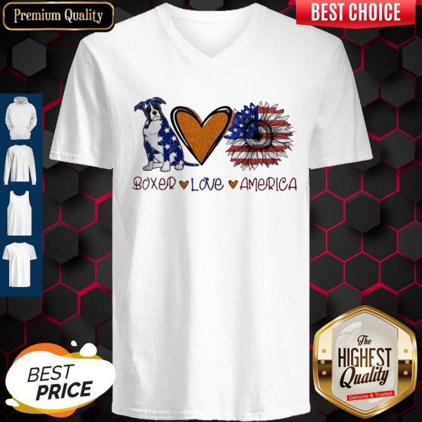 Boxer Love Heart Sunflower American Flag Veteran Independence Day V-neck