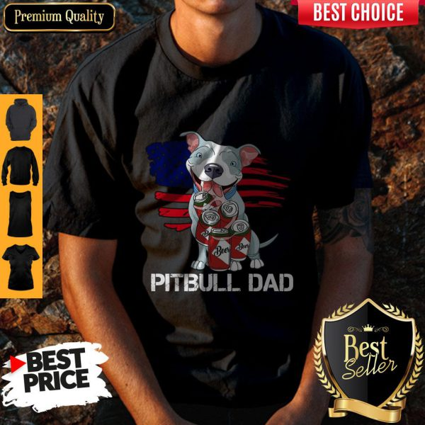 Cute Pitbull Dad Flag Beer Father's Day Shirt