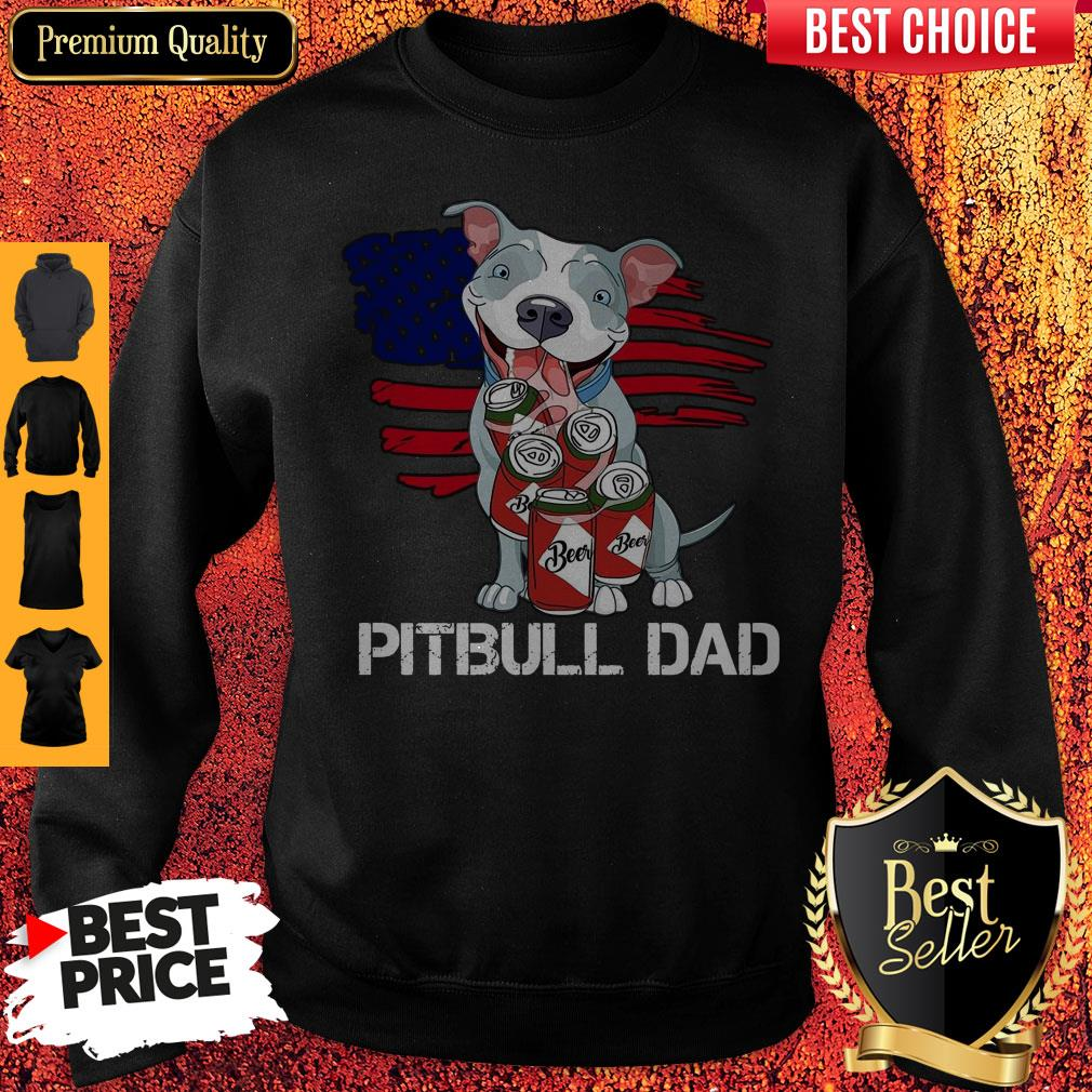 Cute Pitbull Dad Flag Beer Father's Day Sweatshirt