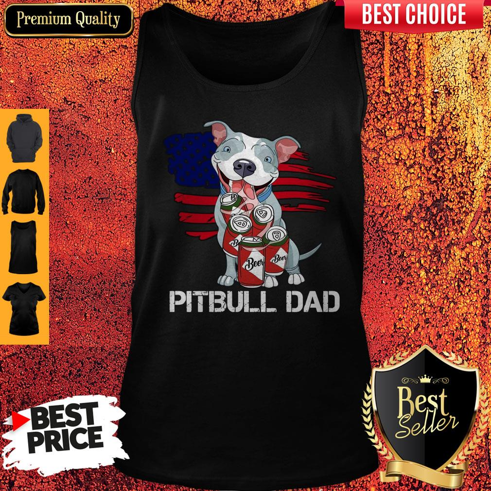 Cute Pitbull Dad Flag Beer Father's Day Tank Top
