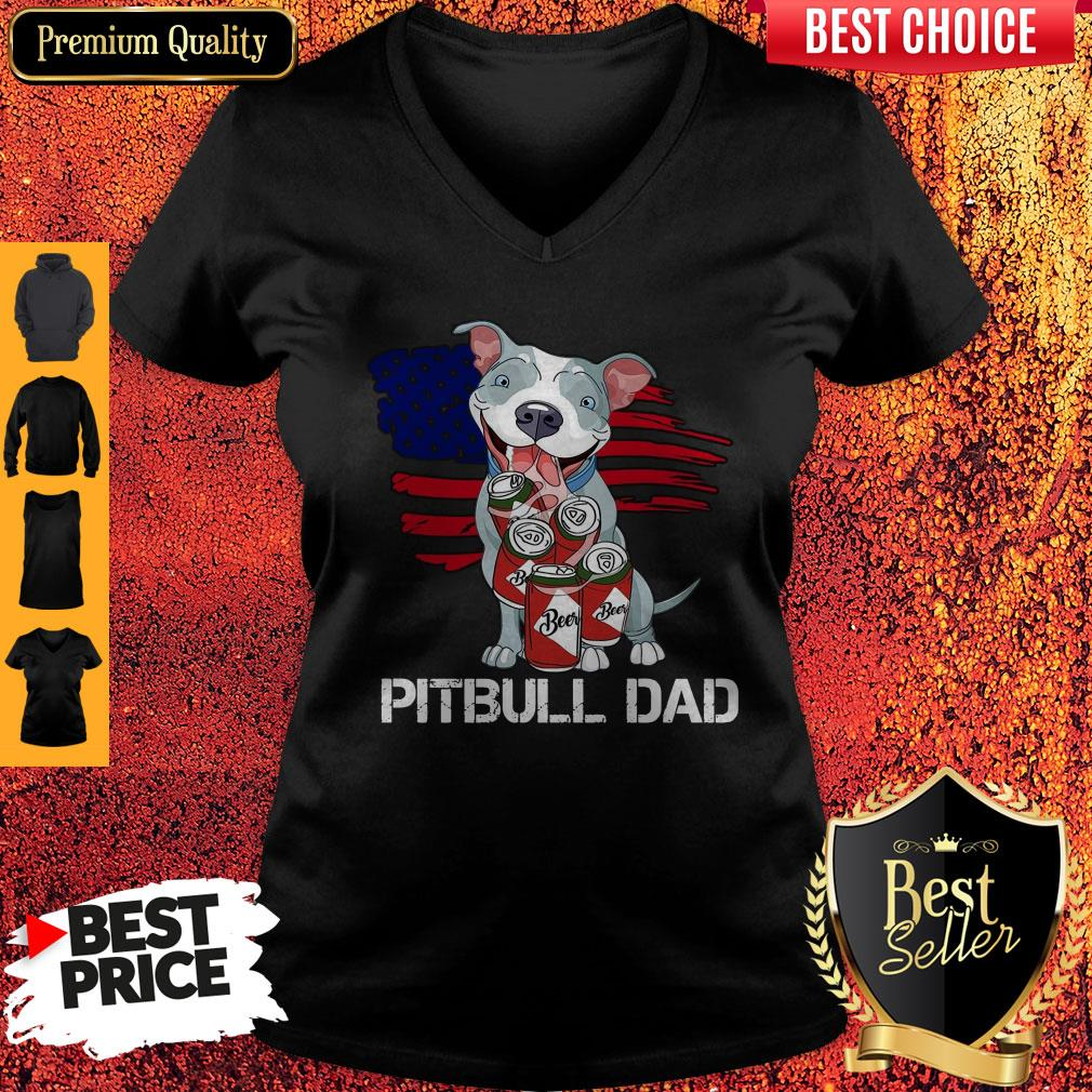 Cute Pitbull Dad Flag Beer Father's Day V-neck