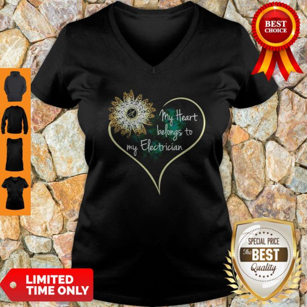 Official My Heart Belongs To My Electrician V-neck