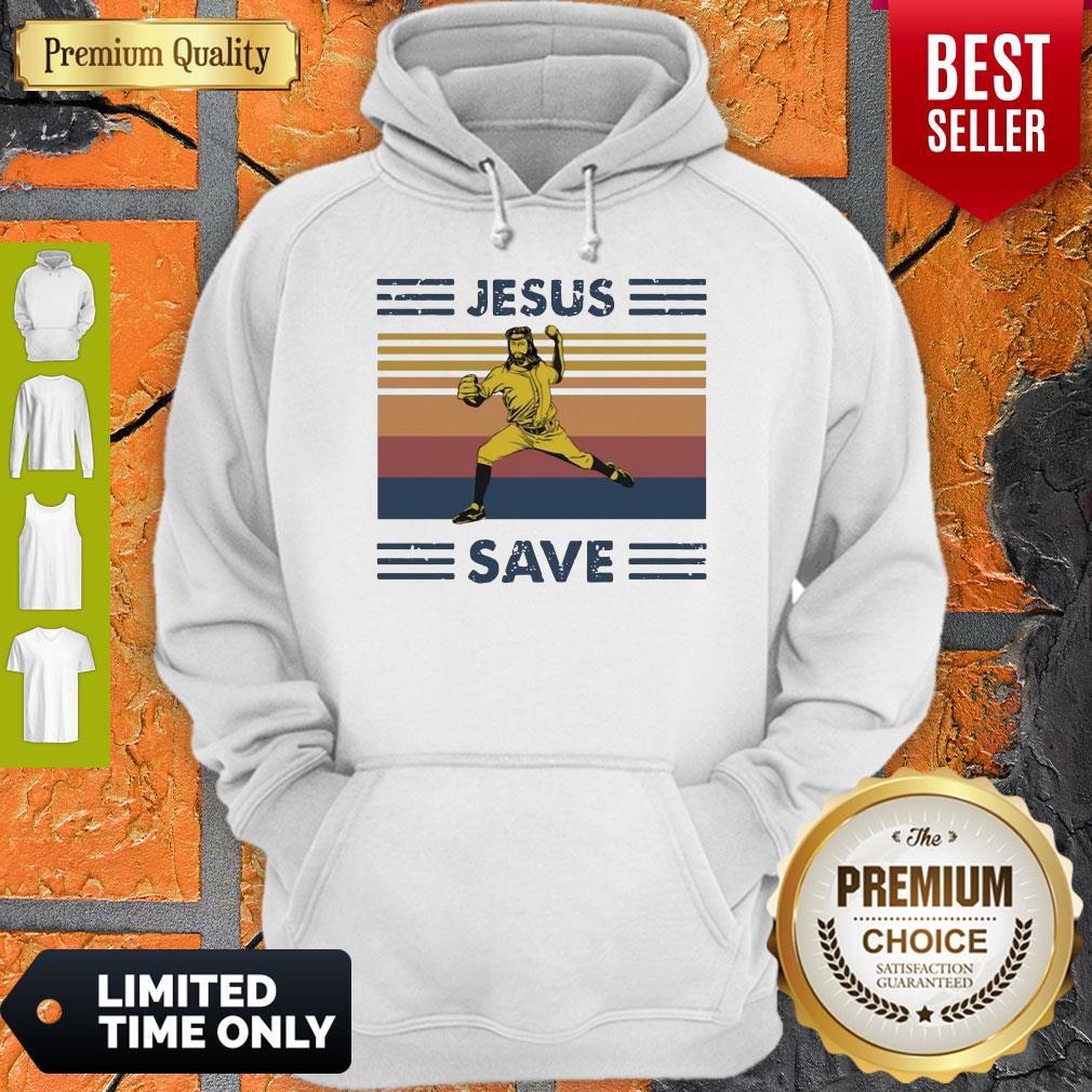 Premium Jesus Saves Baseball Vintage Hoodie