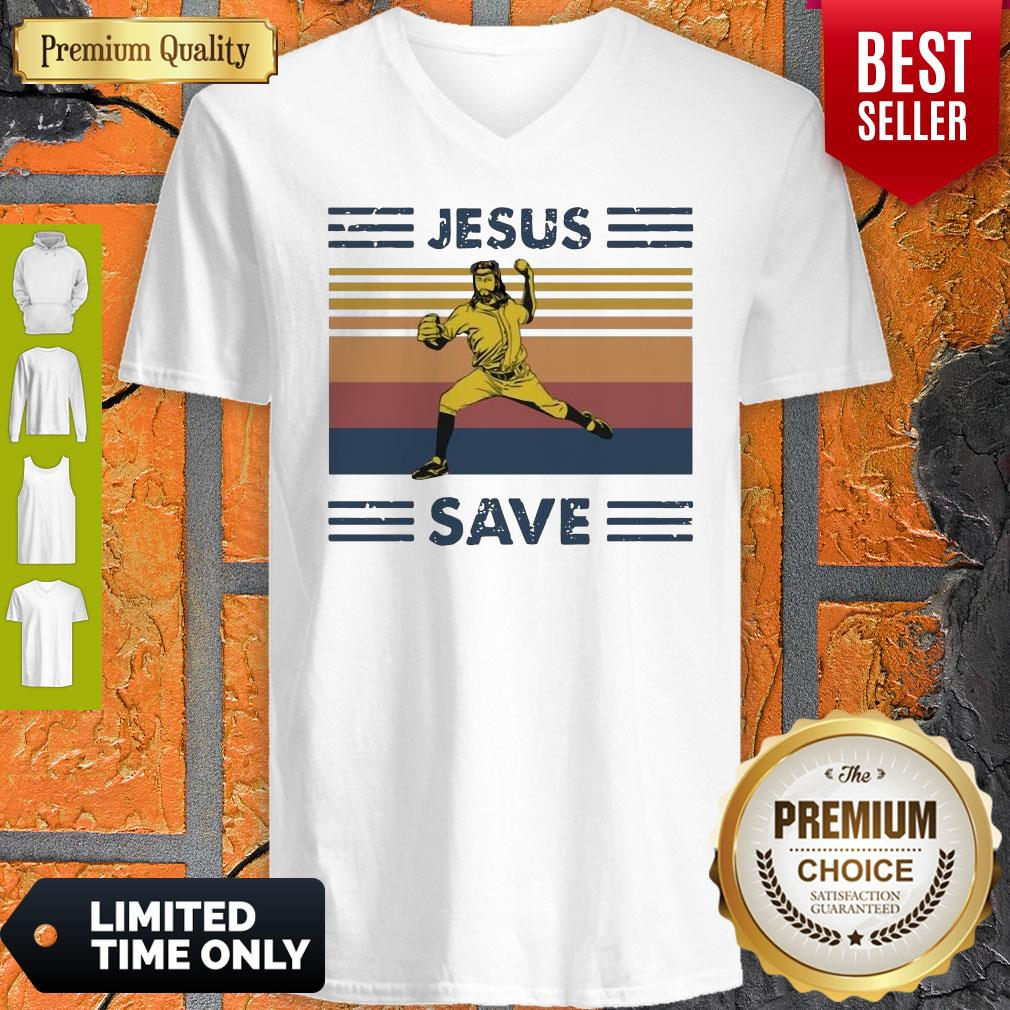 Premium Jesus Saves Baseball Vintage V-neck