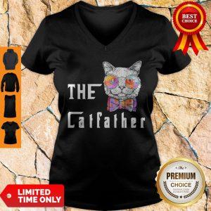 Premium The Catfather Cat Glasses V-neck