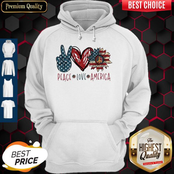 Pug Love Heart Sunflower American Flag Veteran Independence Day Hoodie