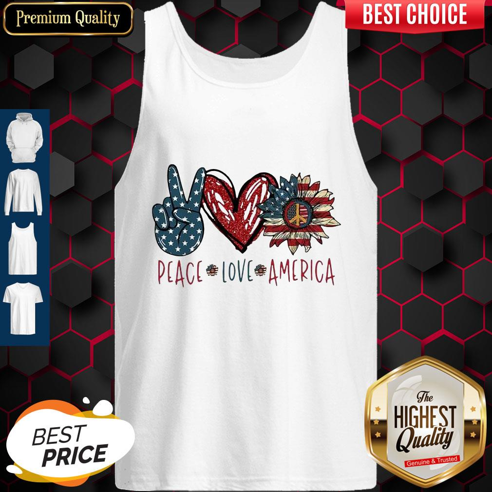 Pug Love Heart Sunflower American Flag Veteran Independence Day Tank Top