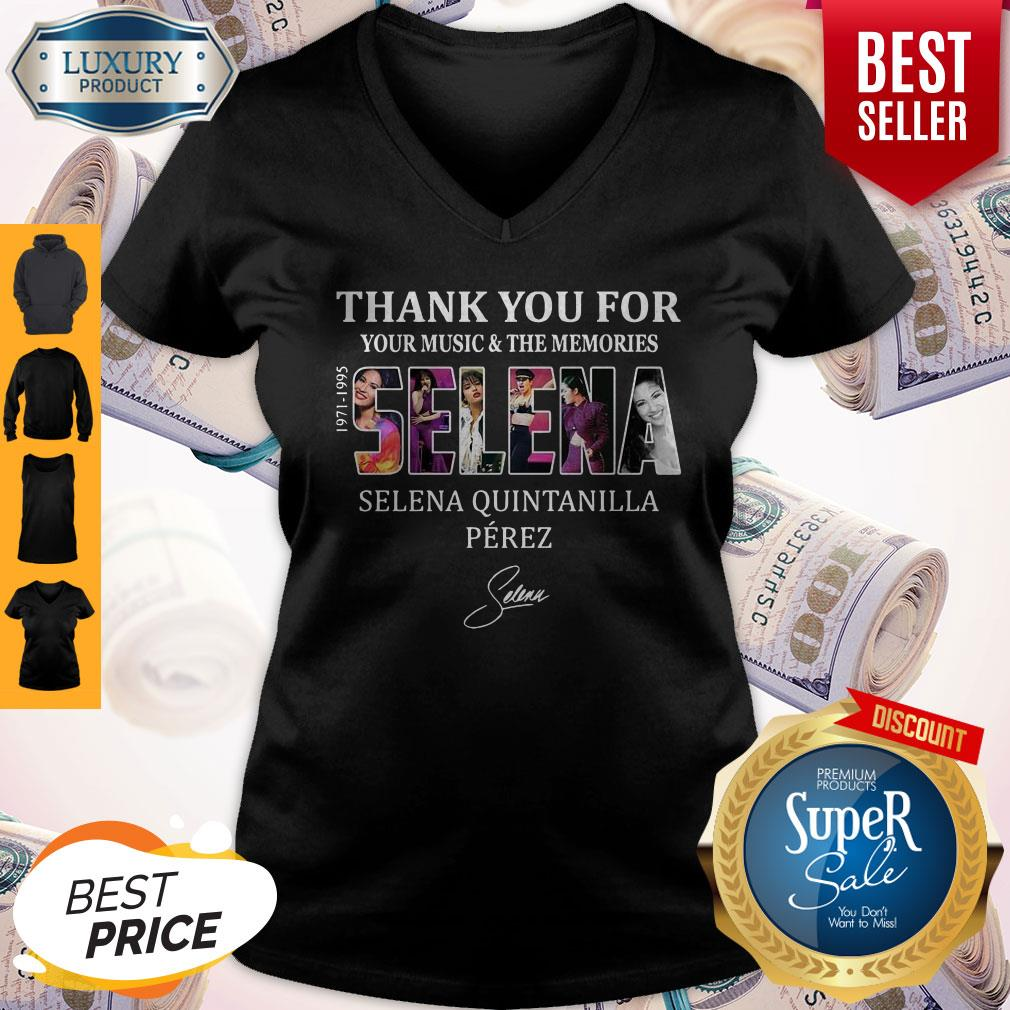Selena Quintanilla Perez Thank You For Your Music And The Memories Selena 1971-1995 Signature V-neck