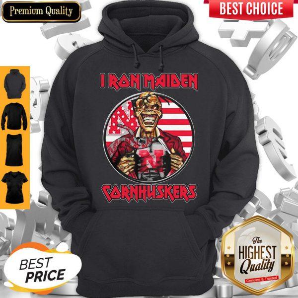 Skull Iron Maiden Nebraska Cornhuskers American Flag Independence Day Hoodie