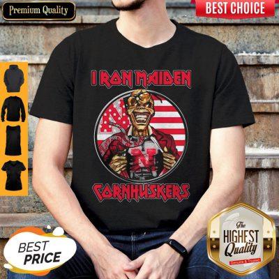 Skull Iron Maiden Nebraska Cornhuskers American Flag Independence Day Shirt