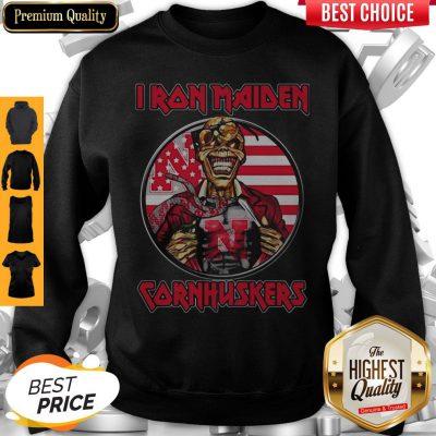 Skull Iron Maiden Nebraska Cornhuskers American Flag Independence Day Sweatshirt