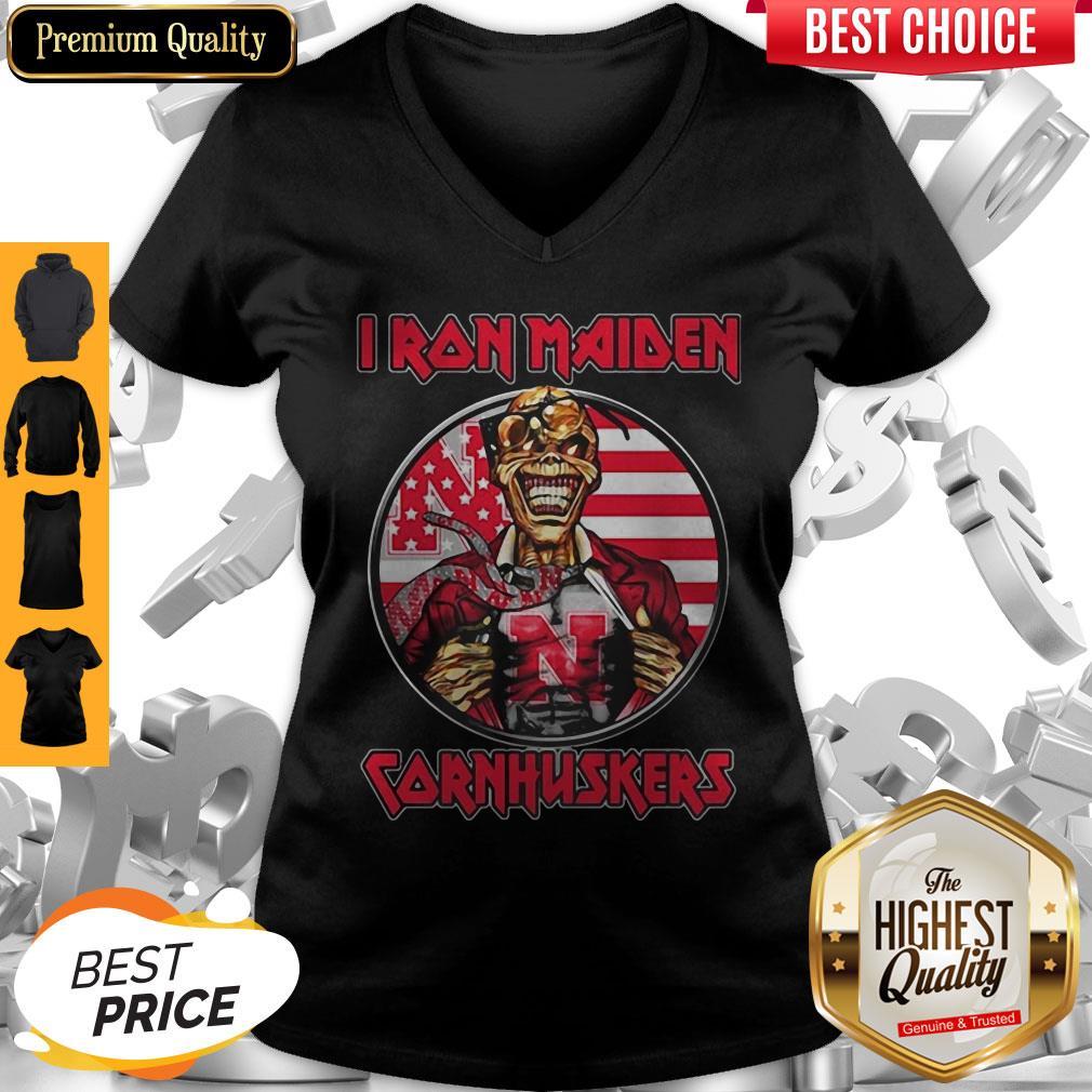 Skull Iron Maiden Nebraska Cornhuskers American Flag Independence Day V-neck