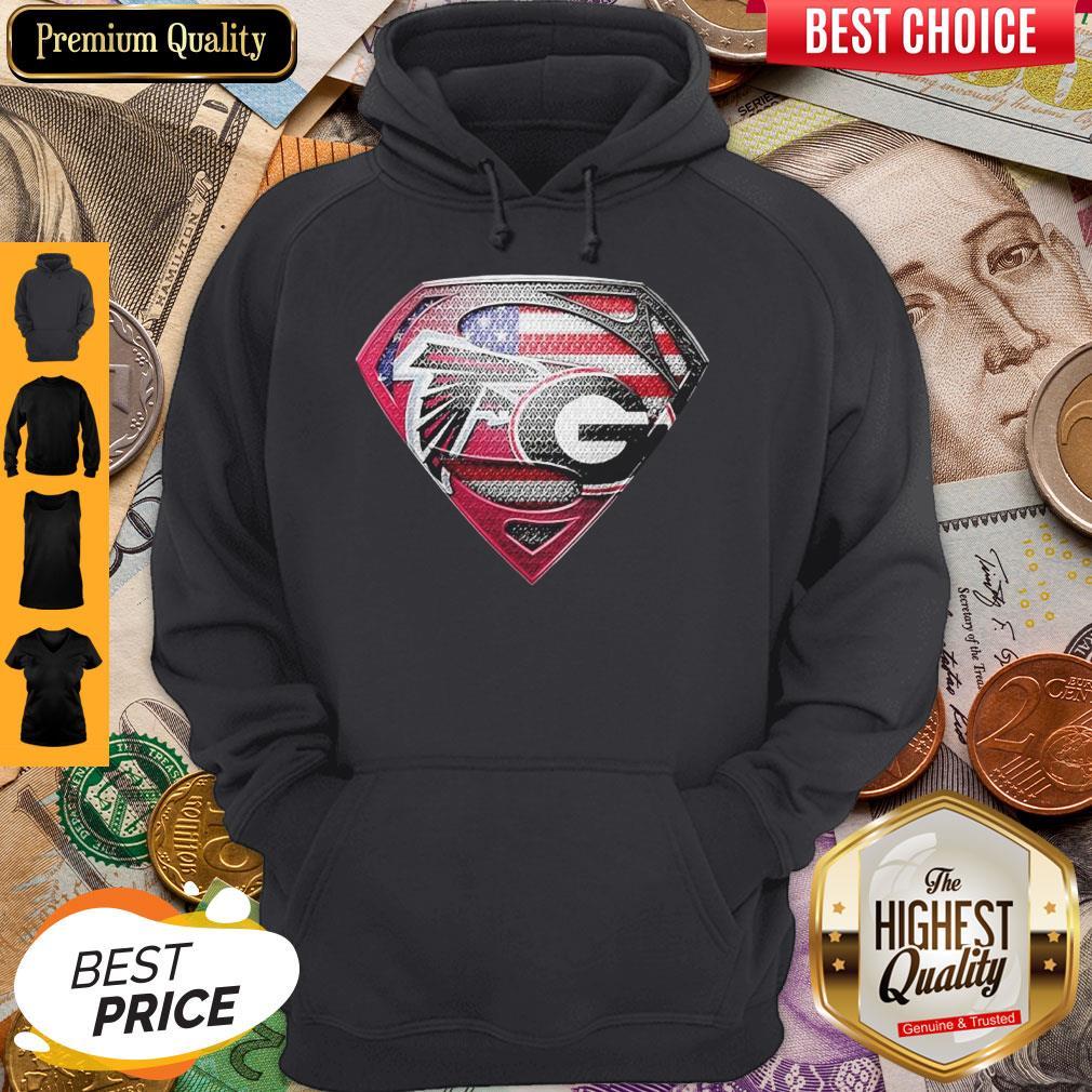 Superman Atlanta Falcons Vs Georgia Bulldogs Heart Hoodie