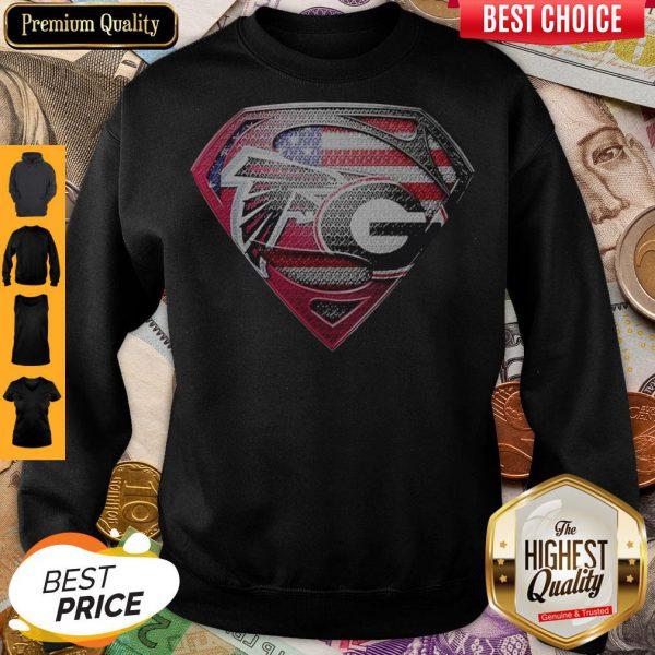 Superman Atlanta Falcons Vs Georgia Bulldogs Heart Sweatshirt