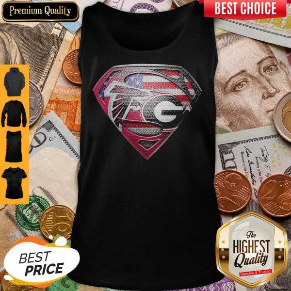 Superman Atlanta Falcons Vs Georgia Bulldogs Heart Tank Top