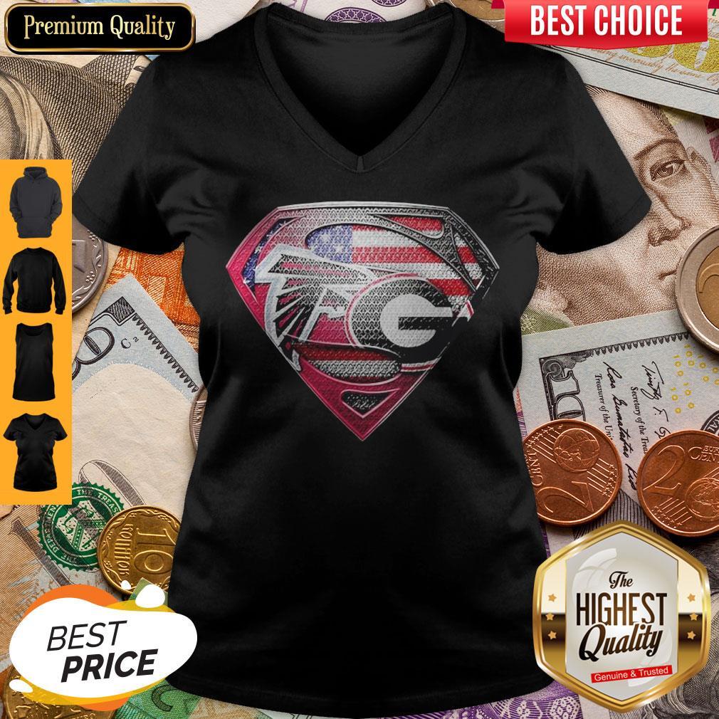 Superman Atlanta Falcons Vs Georgia Bulldogs Heart V-neck