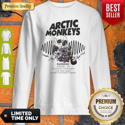 Premium Skull Guitar Flower Arctic Monkeys Pandemic COVID-19 In Case Of Emergency Sweatshirt
