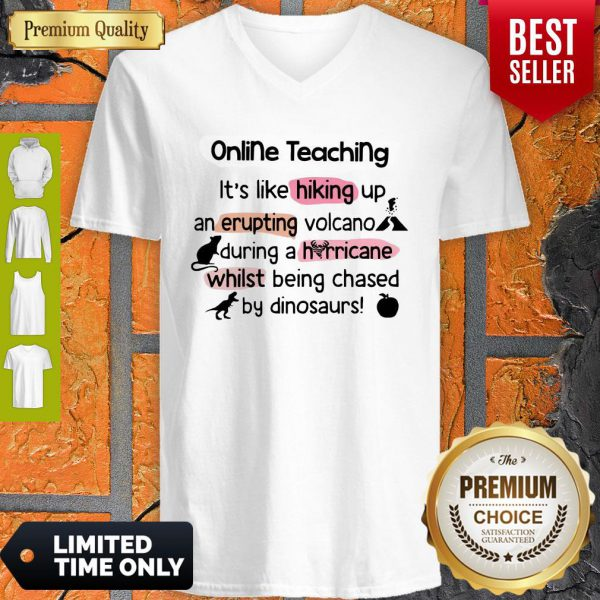 Online Teaching It's Like Hooking Up An Erupting Volcano During Hurricane While Being Chased By Dinosaurs V-neck