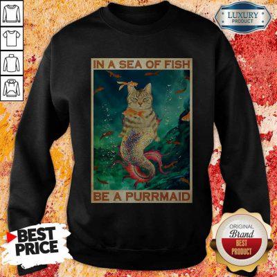 Cute Cat In A Sea Of Fish Be A Purrmaid Sweatshirt