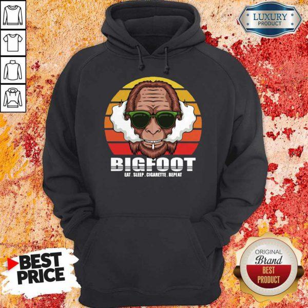 Funny Bigfoot Eat Sleep Cigarette Repeat Vintage Hoodie