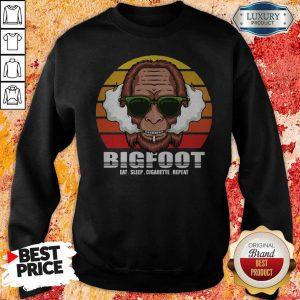 Funny Bigfoot Eat Sleep Cigarette Repeat Vintage Sweatshirt